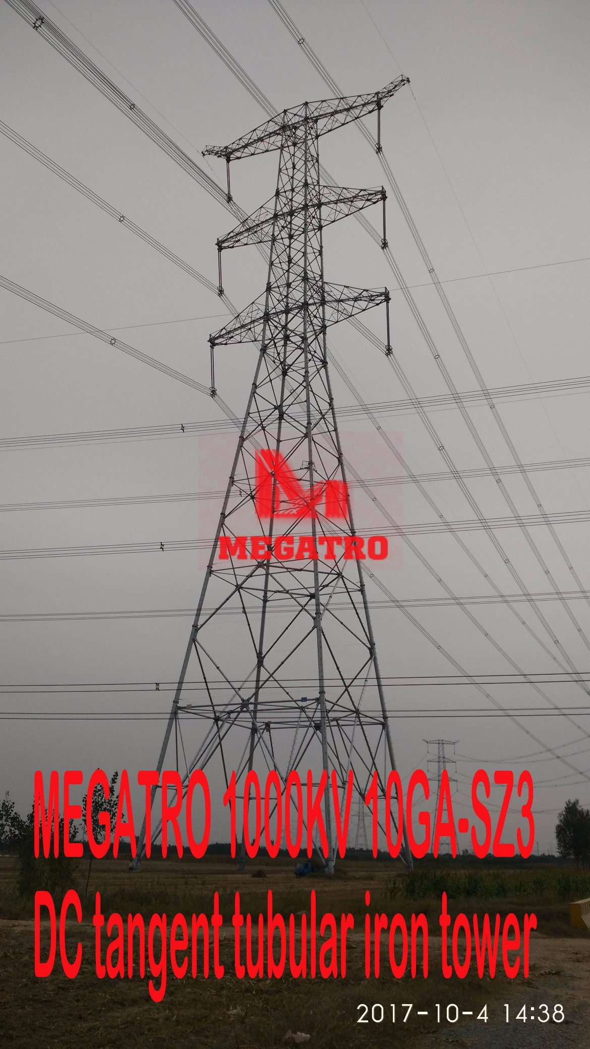 China Megatro 1000Kv 10Ga Sz4 Dc Suspension Tubular Steel Structure