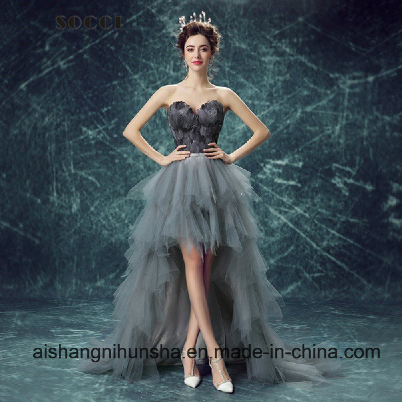 China Love May Ladies Nice Black Feather Evening Dress Wedding ...