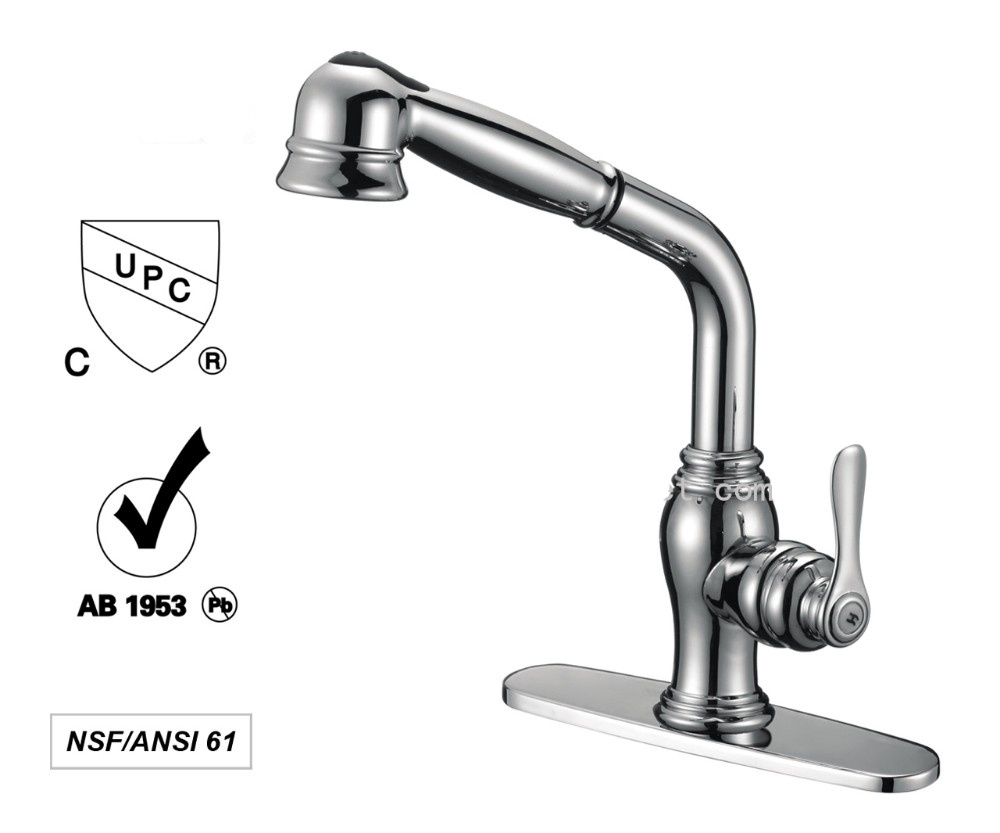 China Lead Free Brass Single Handle Kitchen Faucet Upc Water Mixer ...