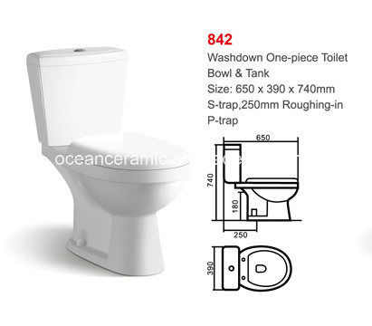 China 842 Sanitary Ware Toilet Seats Cheap Washdown Two Piece