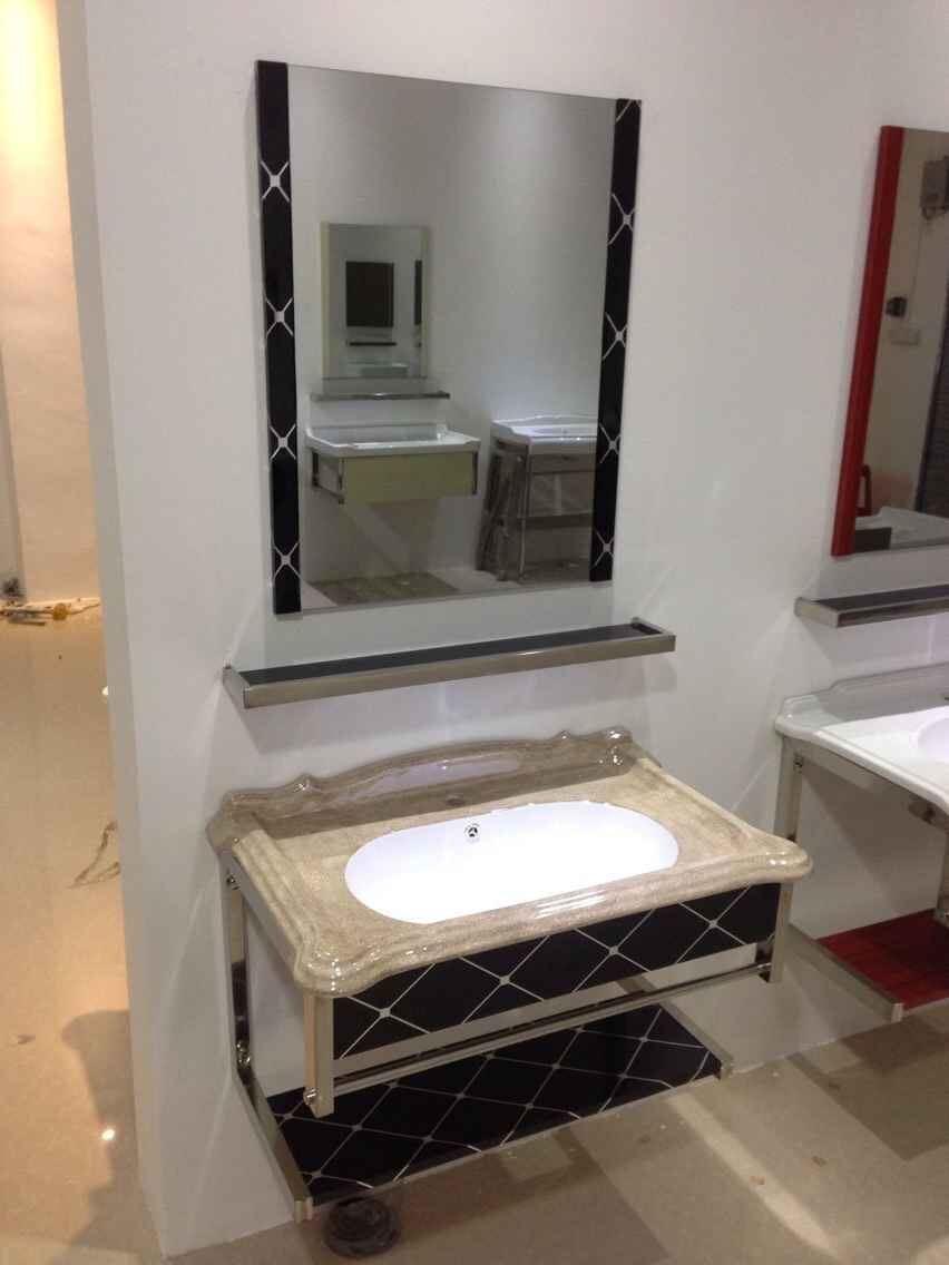 China New Bathroom Vanity Marble Top Ceramic Basin Glass Stainless Steel China Wash Basin Sanitary Ware