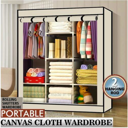 Triple Fabric Canvas Wardrobe Clothes Storage Organiser Cabinet Cupboard  Shelves (FW 48)