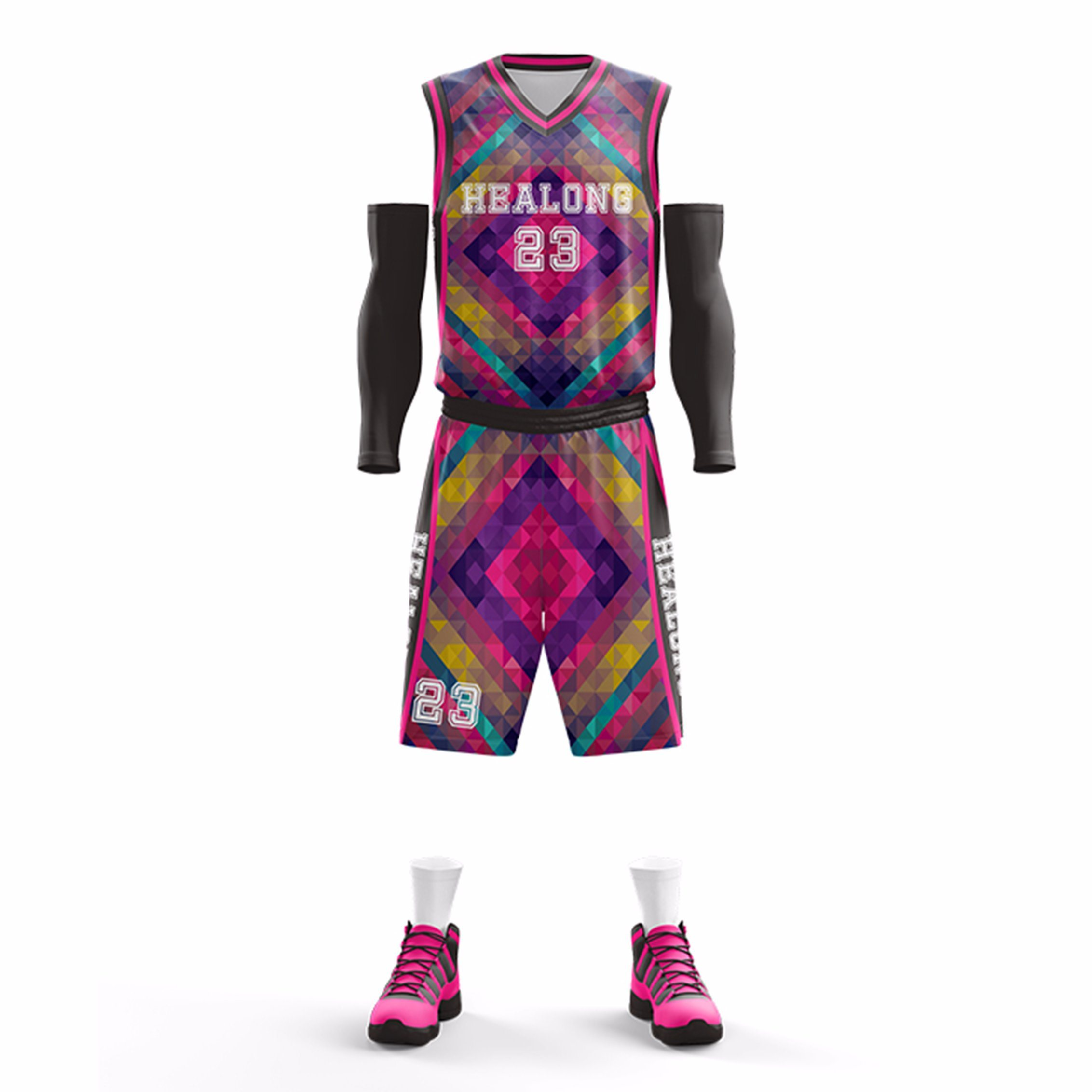 China Sublimation Custom Sample Basketball Jersey Design Color Pink Purple China Custom Basketball Uniform And Wholesale Basketball Jersey Price