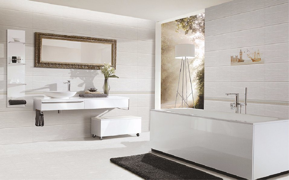 China 30x60 White Marble Look Glazed Ceramic Wall Tile For Bathroom