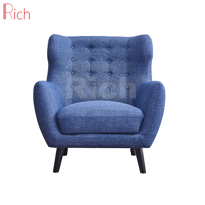 [Hot Item] Home Furniture One Seater Blue Fabric Sofa in Living Room