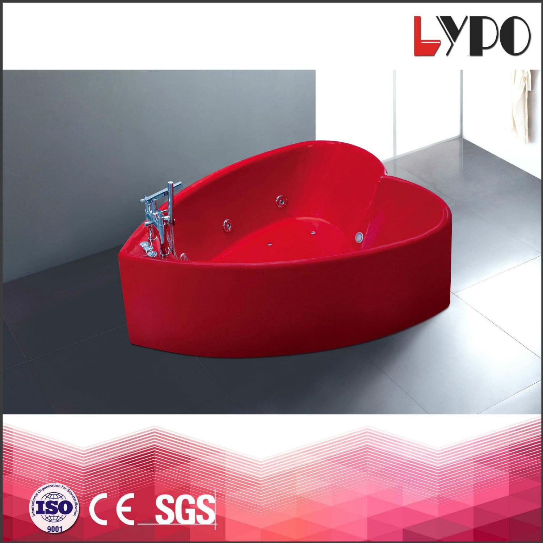 China K-8766 Foshan Red Colored Heart Shape Bathtub, Fiber Bathtub ...