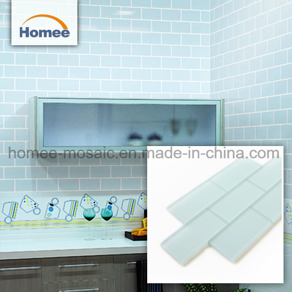 China Creative Shower 8mm Rectangle Blue Glass Tile Mosaic China