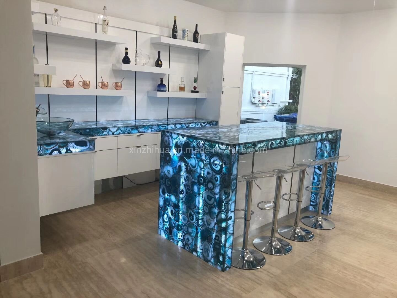China Blue Agate Semi Precious Stone Slabs Transparent Wall Tiles Bar Tops Countertops China Semi Precious Stone Slabs Gemstone Slab