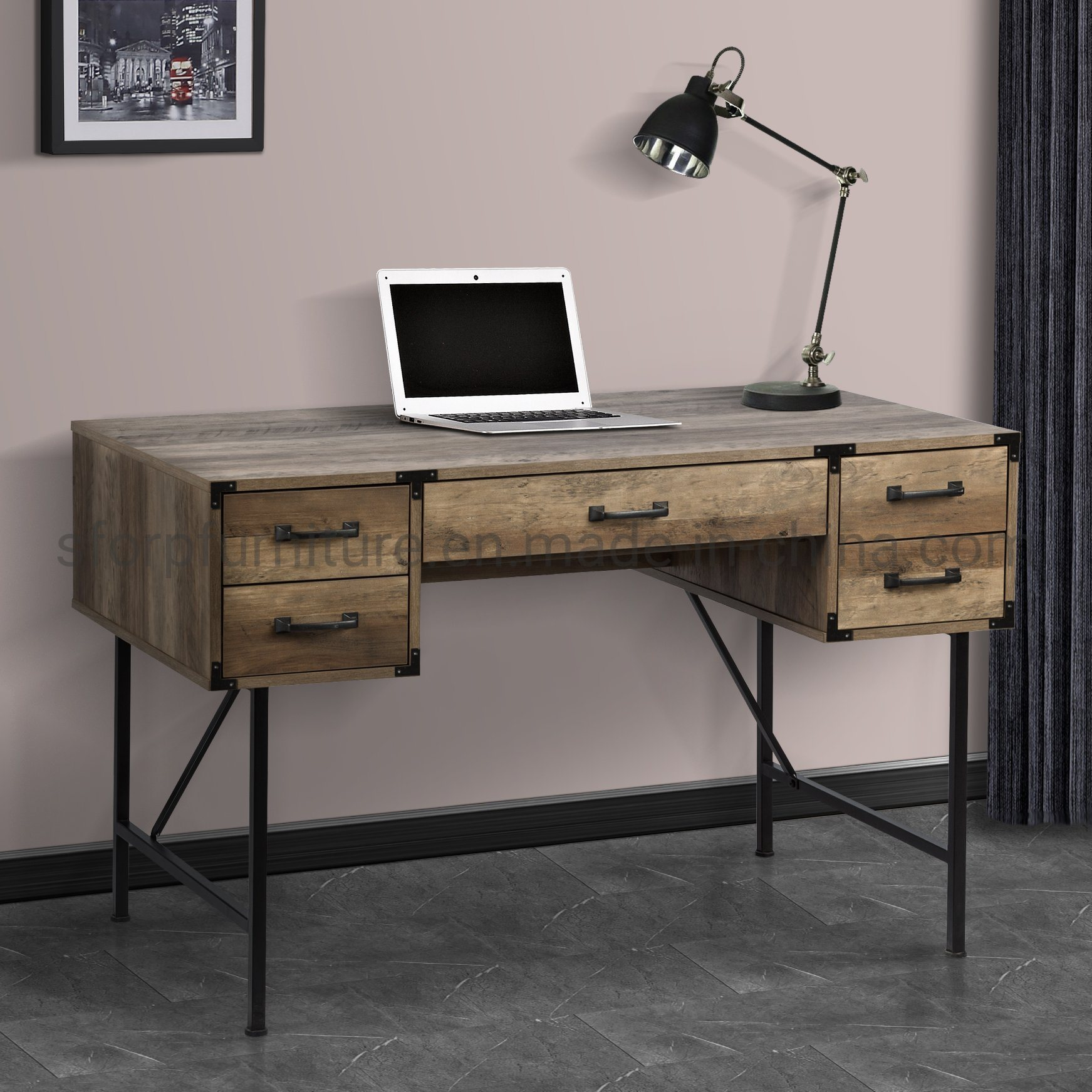 China Home Office Furniture Wooden Rustic Oak Color Writing Desk China Writing Desk Office Furniture Writing Desk