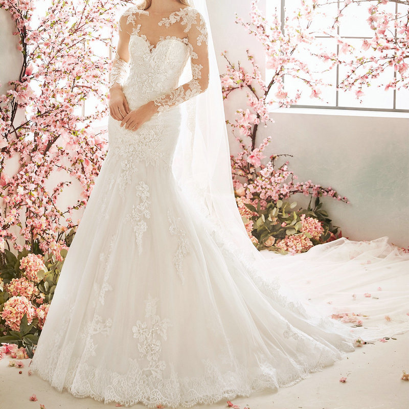 Long Sleeves Bridal Gown Mermaid Lace Tulle Custom Made Wedding Dress 2020 F17233 China Wedding Dress And Bridal Gown Price Made In China Com,Pattern Kerala Wedding Flower Girl Dresses