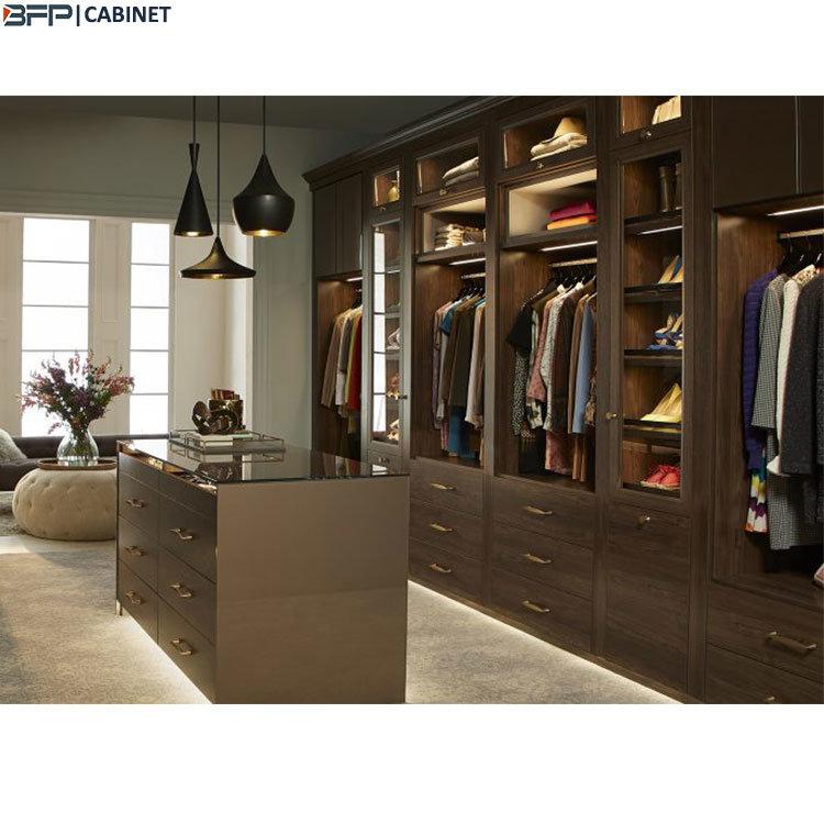 [Hot Item] Brown Wood Bedroom Closet Cabinets Walk in Wardrobe