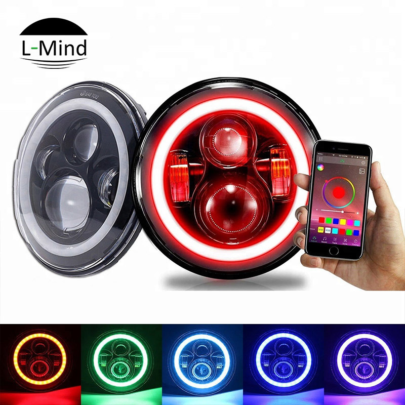 China Wireless Control 7 Rgb Halo Led Headlight Jeep Jk Dome Light Motorcycle