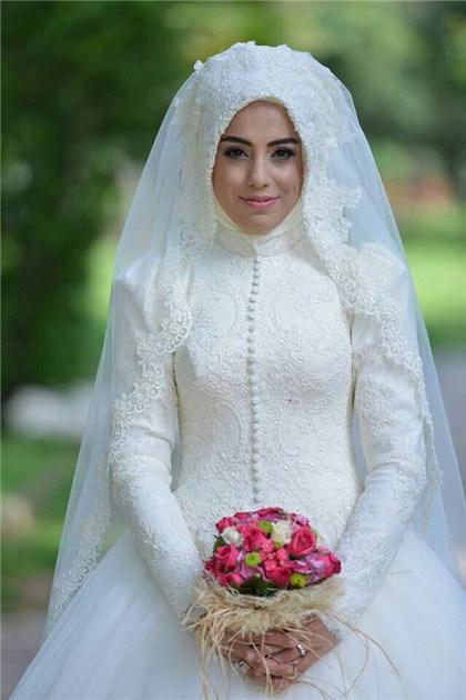China A-Line Long Sleeve Muslim Wedding Dress 2016 Muslim Bridal ...