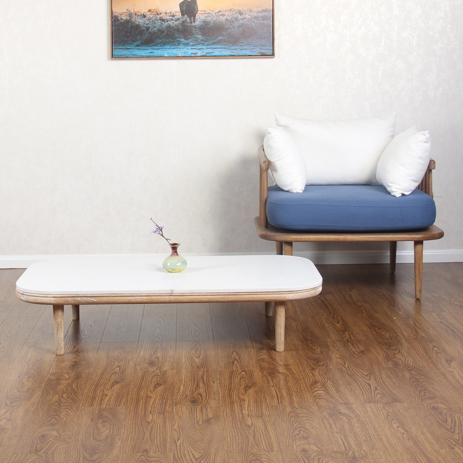 Low Modern Wooden Center Coffee Table