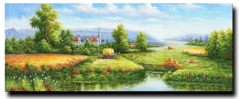 Hot Item Beautiful Scenery Wall Painting Impressionist Forest Road Home Decor Oil Painting On Canvas Chinese Natural Village Scenery