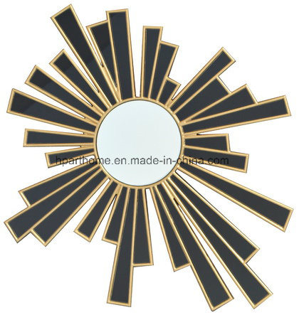 Black Glass Wall Art Mirror With Gold Painted Frame