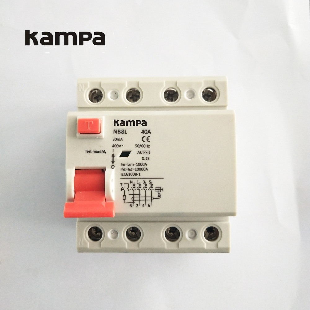 China Kampa 4p 30ma Residual Current Circuit Breaker Elcb Rccb Dz47 100a Miniature Electronic And Digital