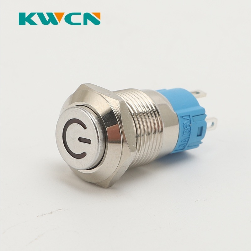 3A 12mm Power Pushbutton Switches NO Momentary Maintained OFF-ON 250V