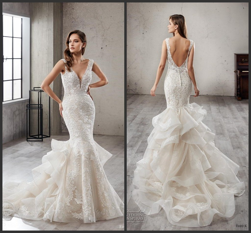 Backless Wedding Dresses.Hot Item Backless Bridal Dress Mermaid Lace Tulle Tiered Wedding Gowns X186