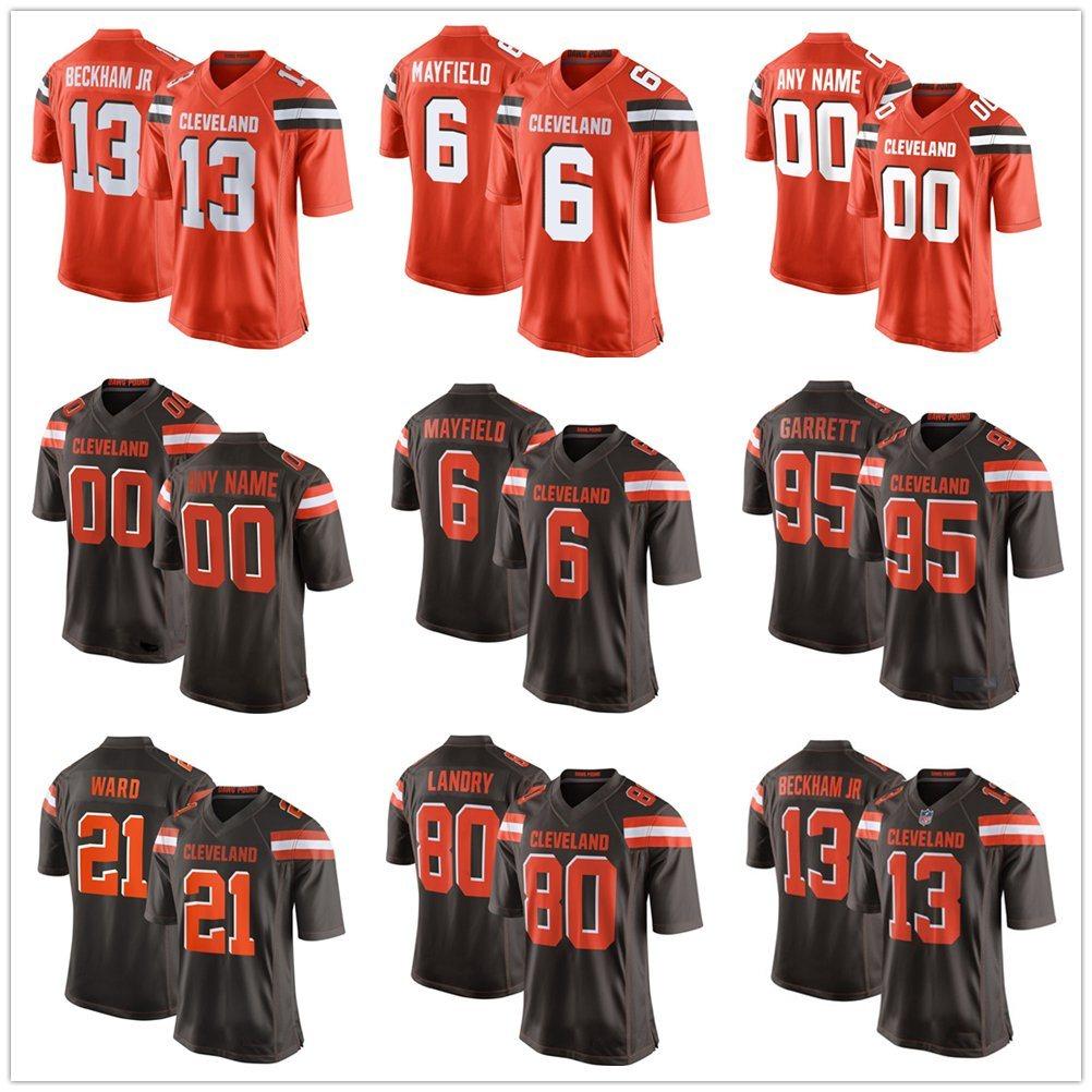 brand new 921e4 1f622 [Hot Item] 2019 Odell Beckham Jr Baker Mayfield Customized Browns Football  Jerseys