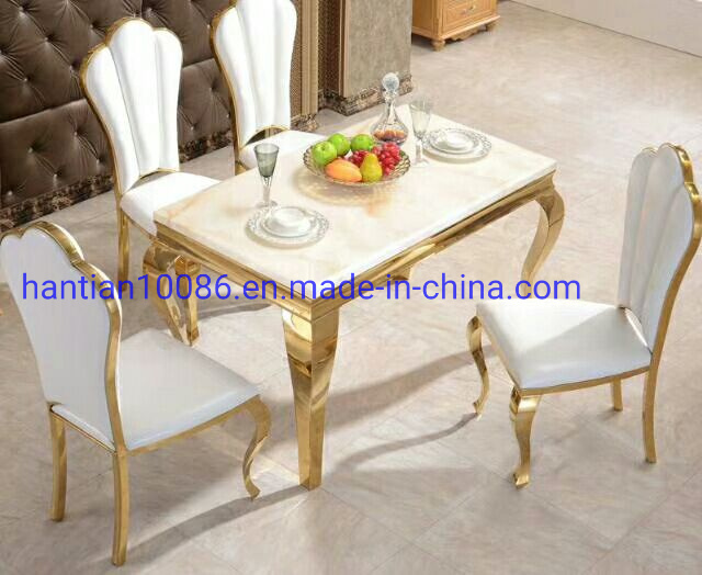 Leather White Gold Dining Chair, White And Gold Dining Room Set