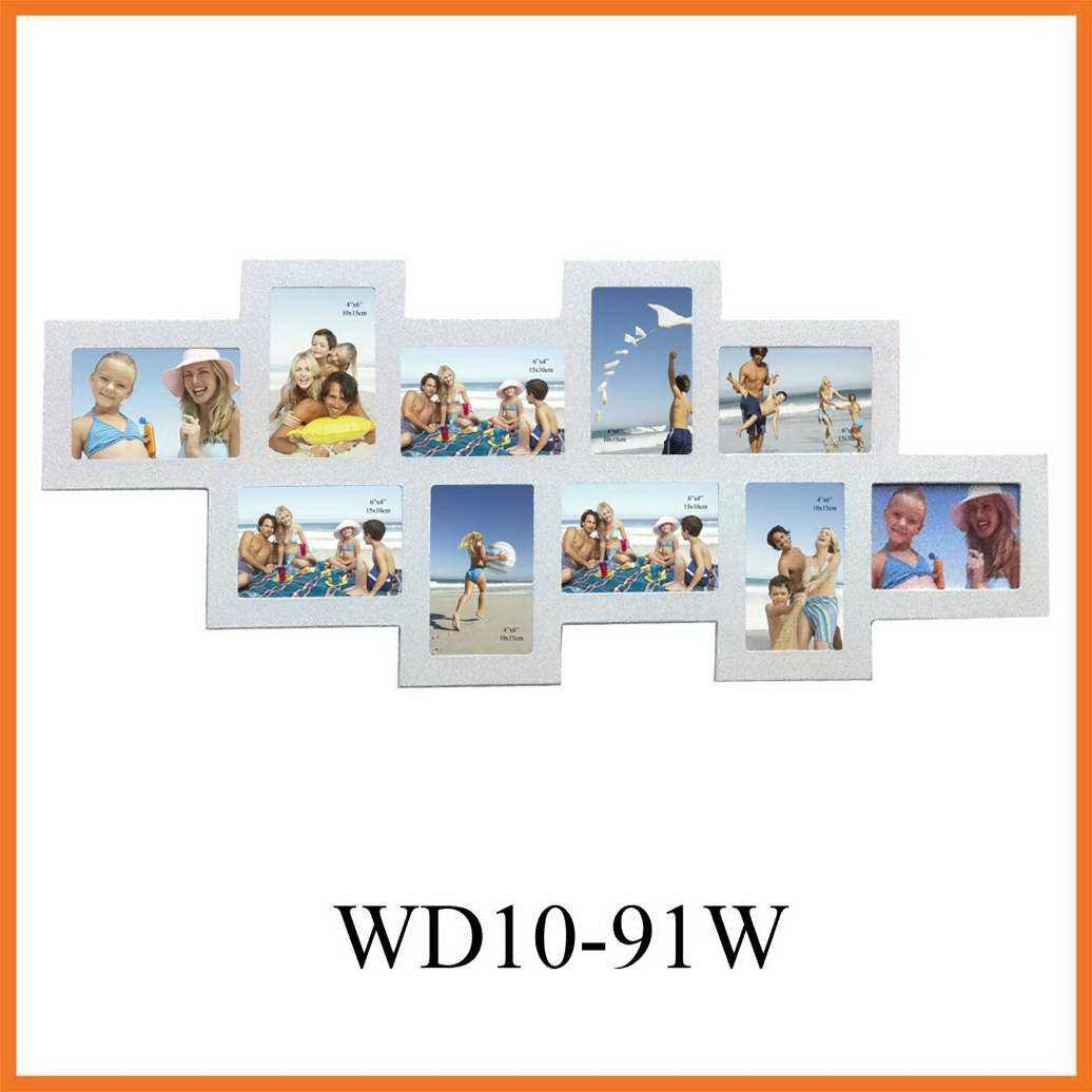 China White 10-Opening Wooden Wall Hang Collage Picture Frame (WD10 ...