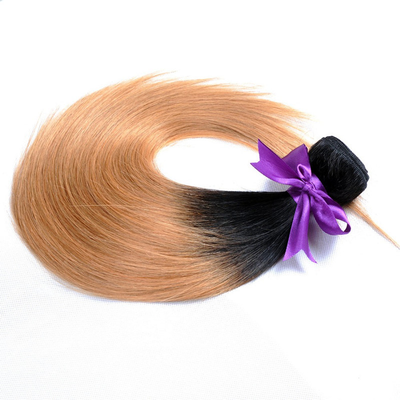 China Ombre Brazilian Hair 1b 27 Straight Hair Weave Honey Blond