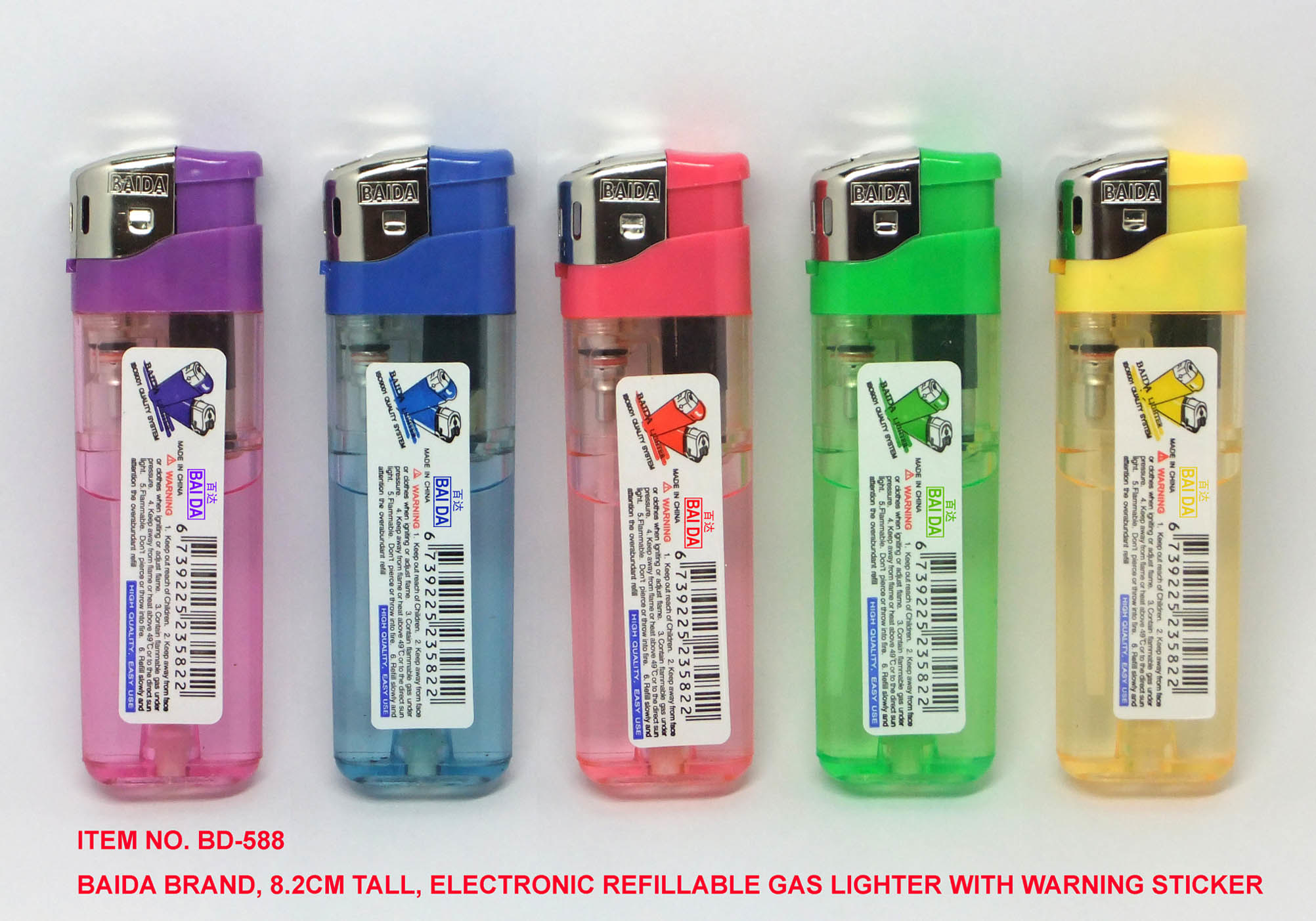 (Item No. BD-588) Baida Lighter, Electronic Refillable Gas Lighter