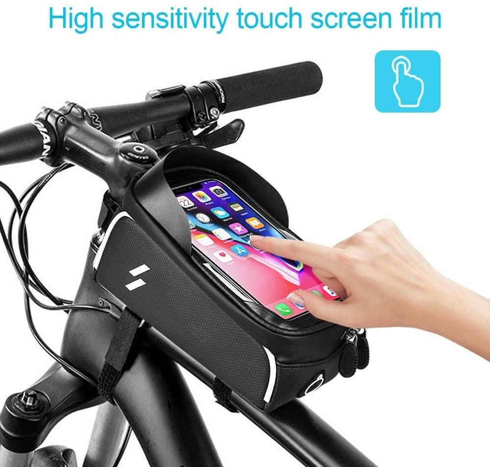 Bicycle Cycling Waterproof Phone Holder Case Bike Front Top Tube  Frame Bag ^