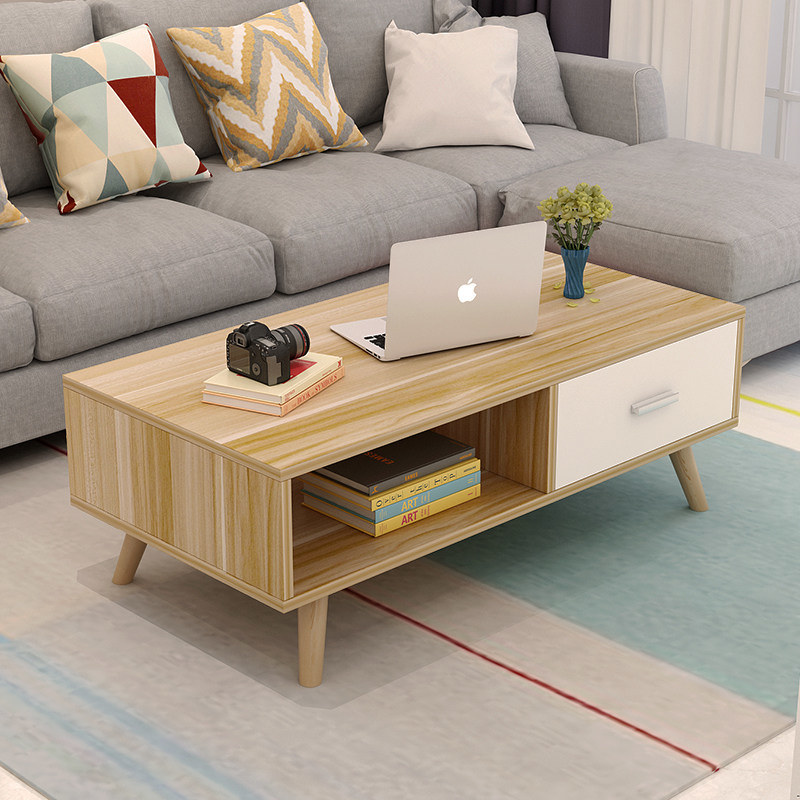 China Small House Living Room Furniture Nordic Simple Hollow Drawer Storage Wood Top Modern Wooden Mini Coffee Table Design China Mini Coffee Table Modern Wooden Coffee Table