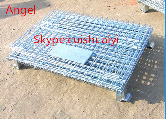 Stackable and Foldable Heavy Duty Galanvized Storage Cage Wire Mesh Container