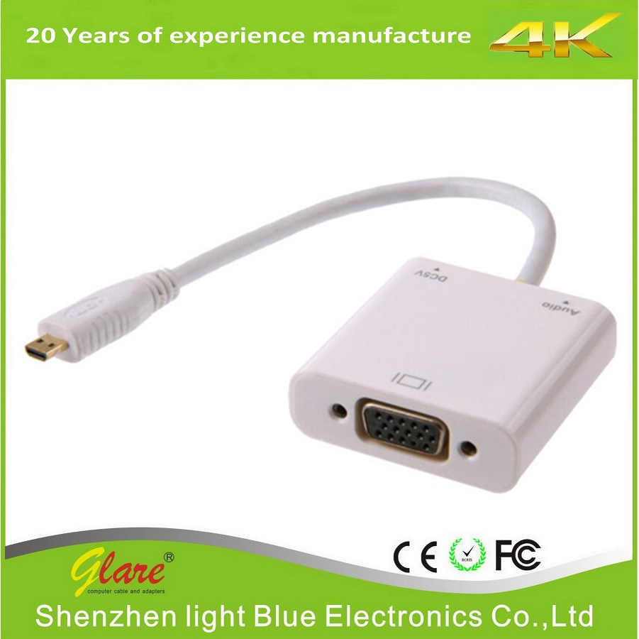 China Cable Video Converter Adapter Micro Hdmi To Vga Kabel Extension Male Female 20cm Type D