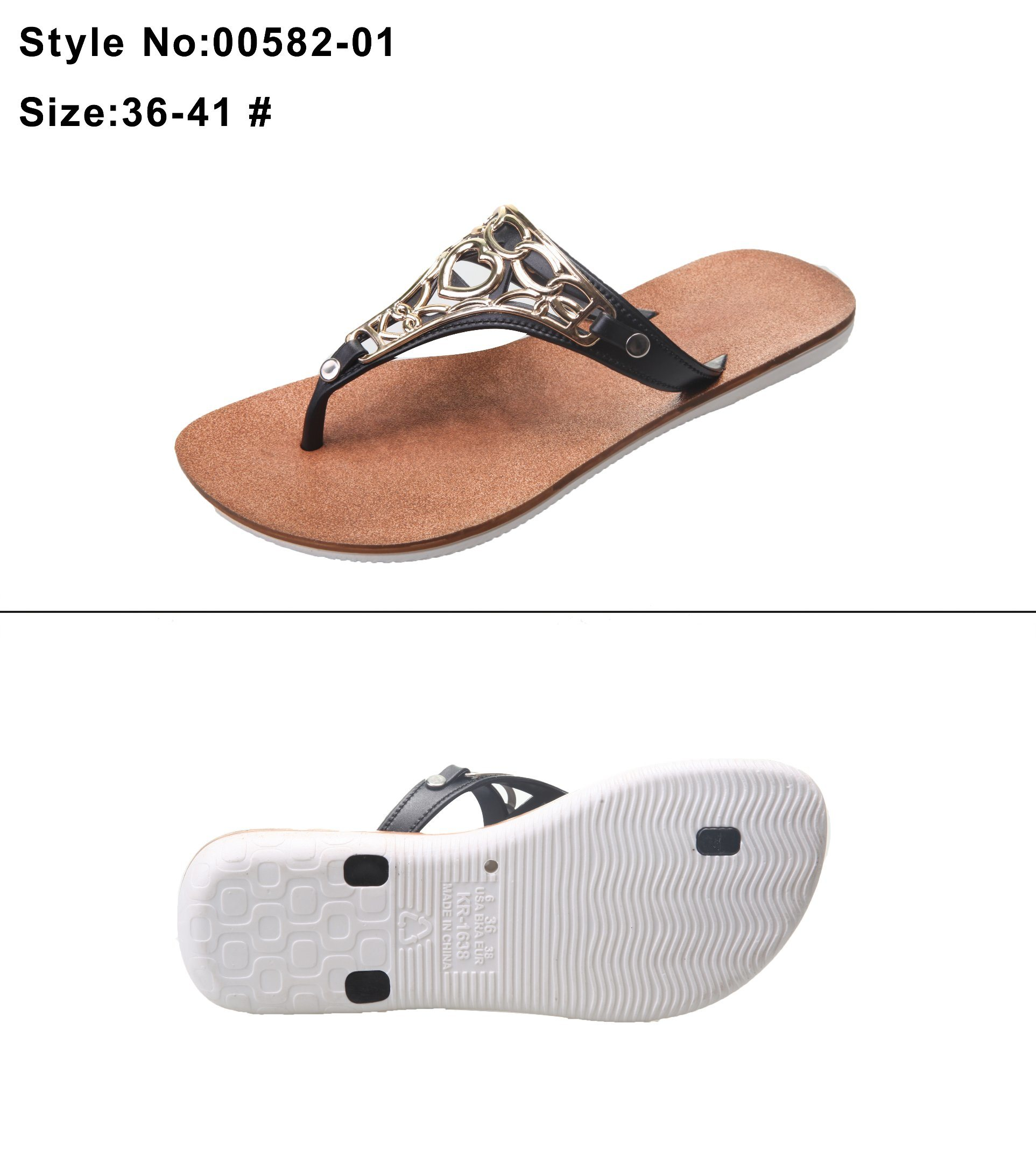 d399bc7add3dc Flat Clip Toe Women and Ladies Flip Flip Sandal Slipper with Metal  Decoration and Wide Strip Strap