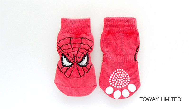 Customize Dog Products Spiderman Knitting Anti-Slip Pet Socks pictures & photos