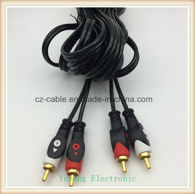 2RCA/2r AV/TV/Audio Plug Cable to 2RCA/2r Jack, 2r-2r Interconnect Cable pictures & photos