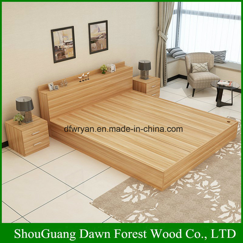 . Hot Item  Modern Melamine MDF Particle Board Simple Design Wooden Bed