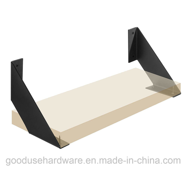 Hot Item Iron Shelf Brackets Flat Angle Curved Black Floating Industrial Shelves 6 Inch