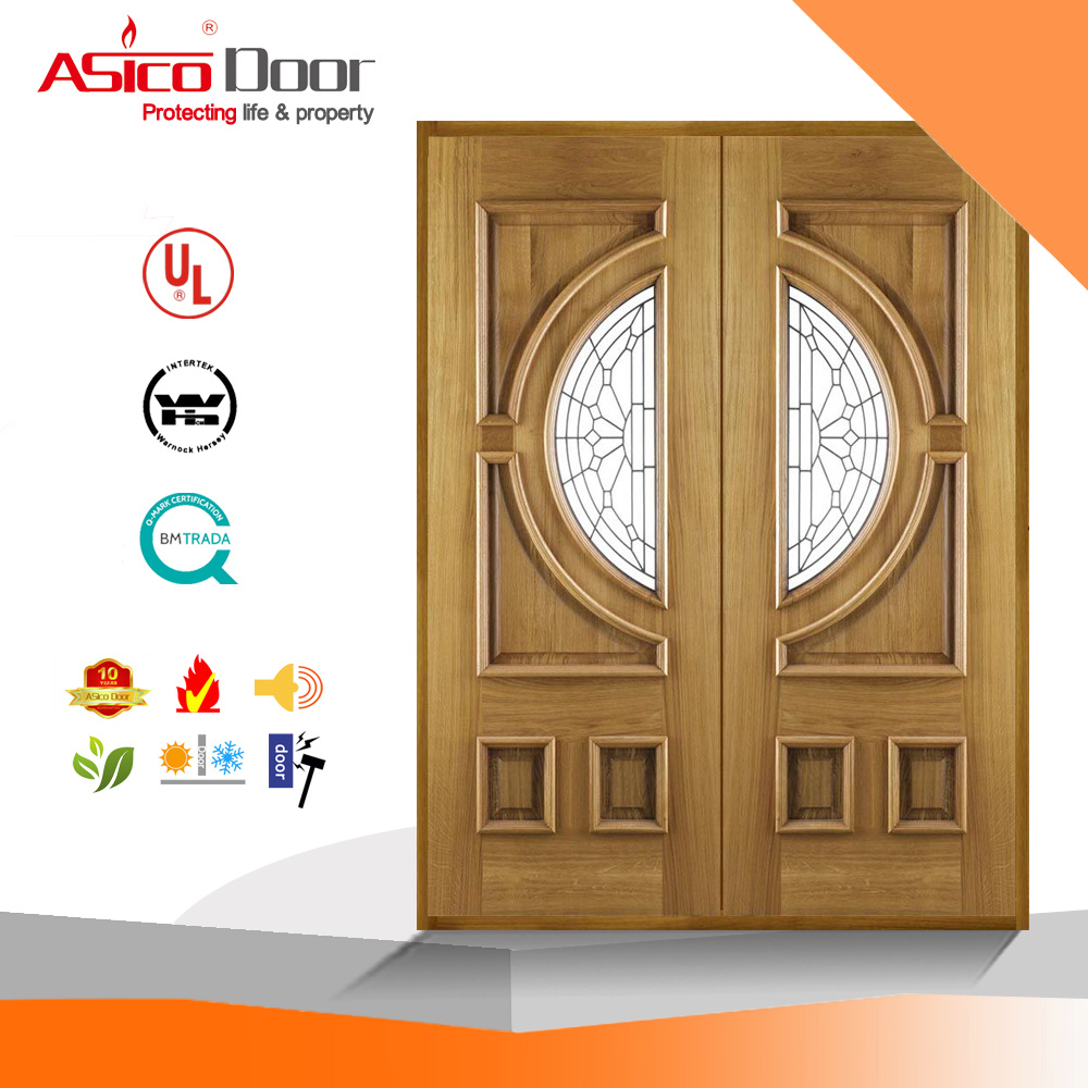 China Exterior Wooden Door Solid Entrance Wood Timber