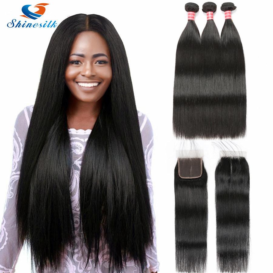 China Brazilian Straight Weave Hair Bundles With Closure 3 Bundles