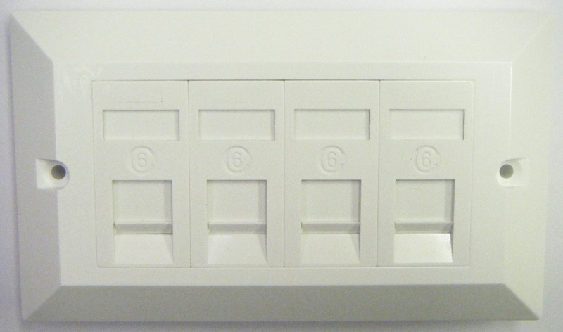 Flat Type 4 Port Cat5e UTP Loaded Euro Module Faceplate