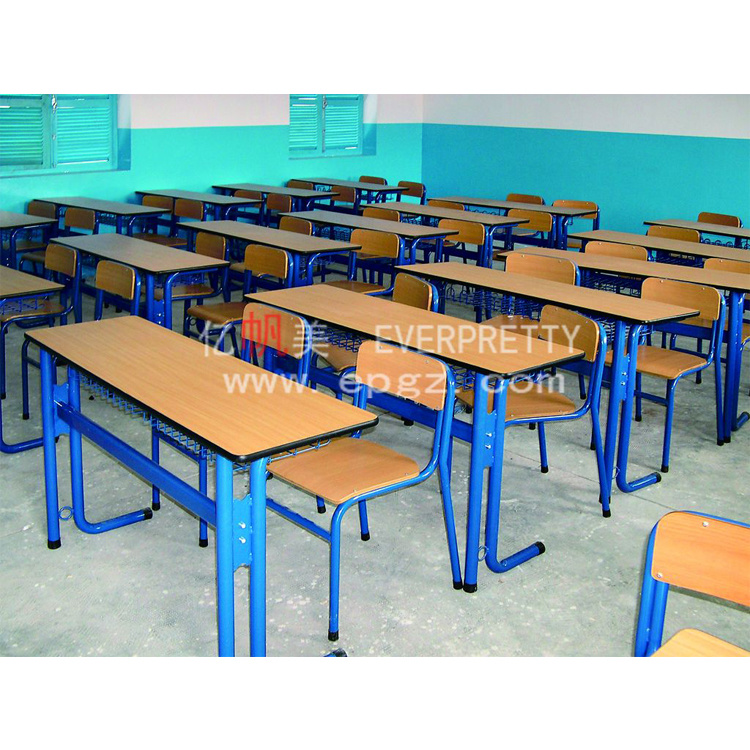China Two Person Writing Desk And Chair Attached School Desks And