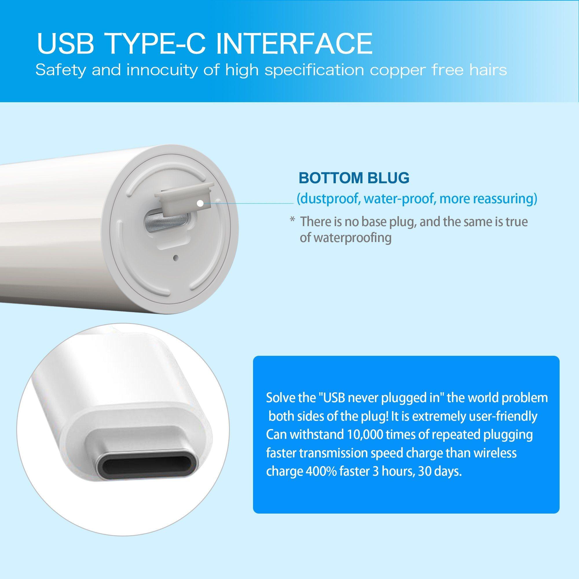 [Hot Item] FDA 2-Minute Timer Metal-Free Bristle Sound Wave Electric  Toothbrush
