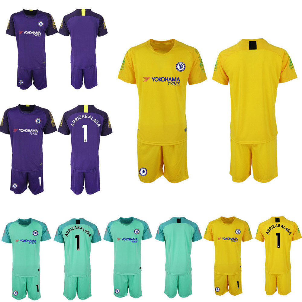 buy popular 2f953 cb226 [Hot Item] Kepa Arrizabalaga Goalkeeper Soccer Jersey Sets Football Uniforms