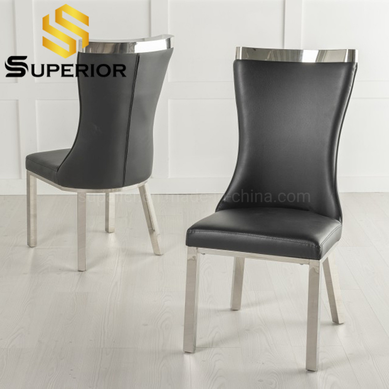 China 2020 New Arrival Modern Black, Black Leather Dining Room Chairs