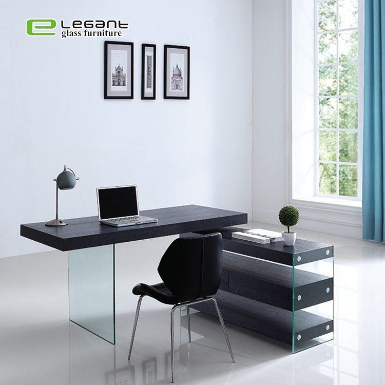 China Furniture Design Luxury Office Computer Glass Table Desk