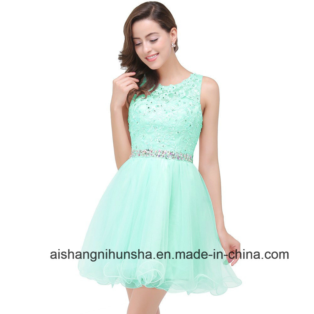 China Short Homecoming Dresses Tulle Beaded -Neck Ball Gown Prom ...