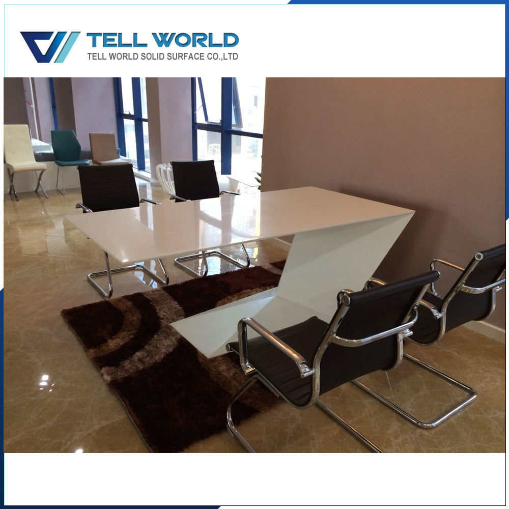 White artificial marble z shape office desk modern design