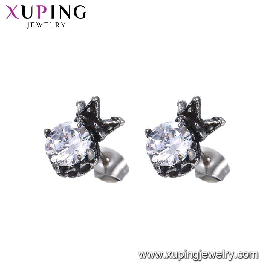 crown pattern silver fashion earing earrings pp sterling stud crystal