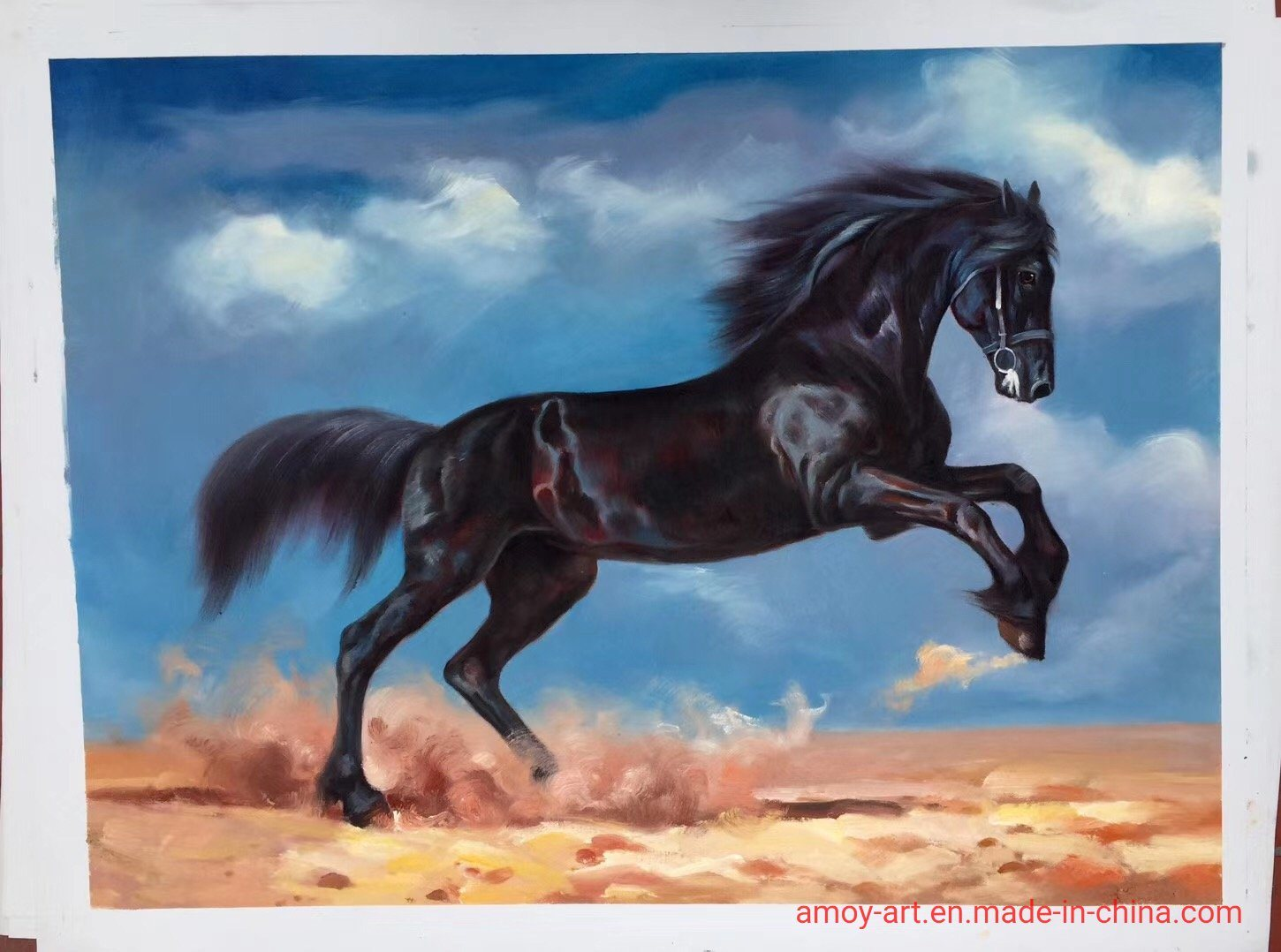 China Reproduction Of Realistic Running Horses Oil Painting On Canvas Chinese Oil Paintings And Animal Oil Paintings Price
