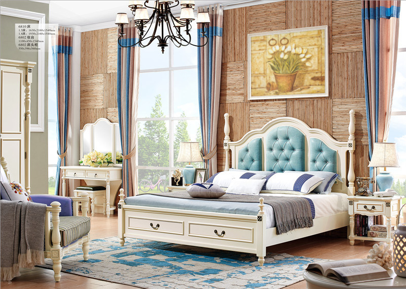 [Hot Item] Antique White Bedroom Furniture Solid Wood Folding Double/Single  Bed
